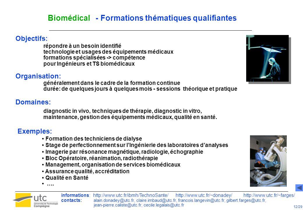 Biomédical - Formations thématiques qualifiantes Objectifs: répondre à un besoin identifié technologie et usages des équipements médicaux formations s