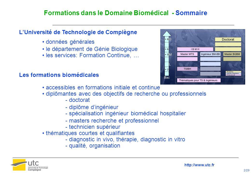 Formations dans le Domaine Biomédical - Sommaire LUniversité de Technologie de Compiègne données générales le département de Génie Biologique les serv