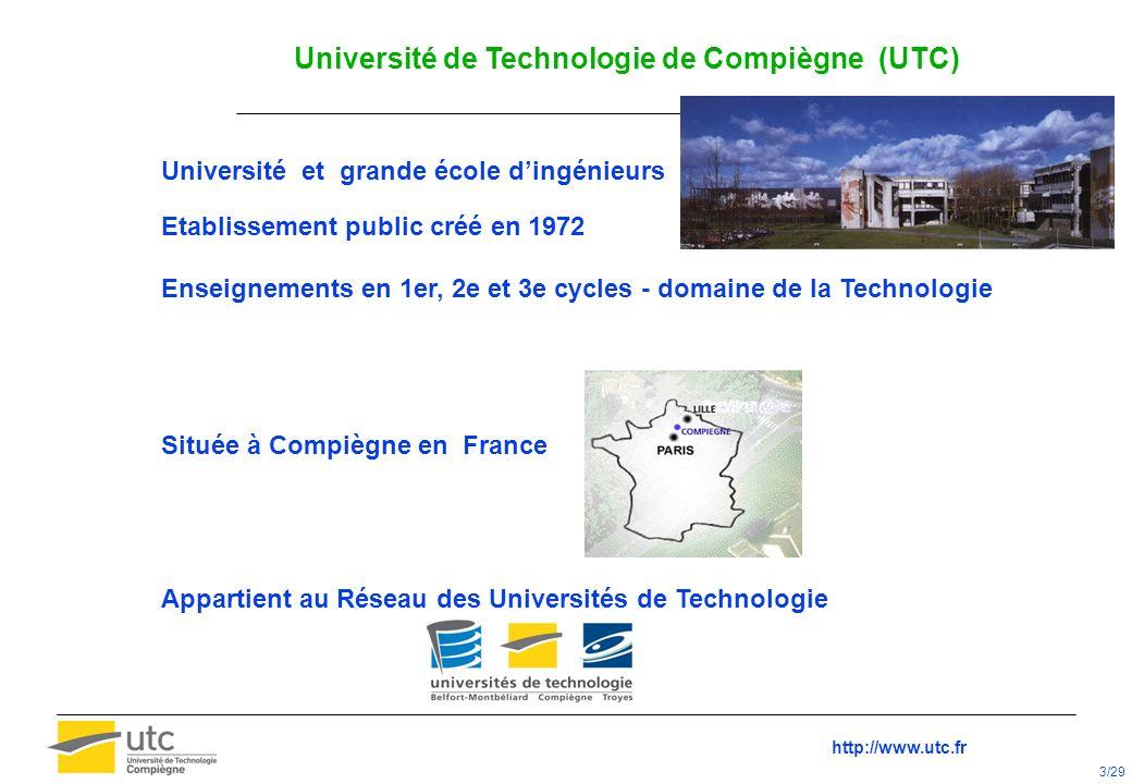 Université de Technologie de Compiègne (UTC) Université et grande école dingénieurs Etablissement public créé en 1972 Enseignements en 1er, 2e et 3e c