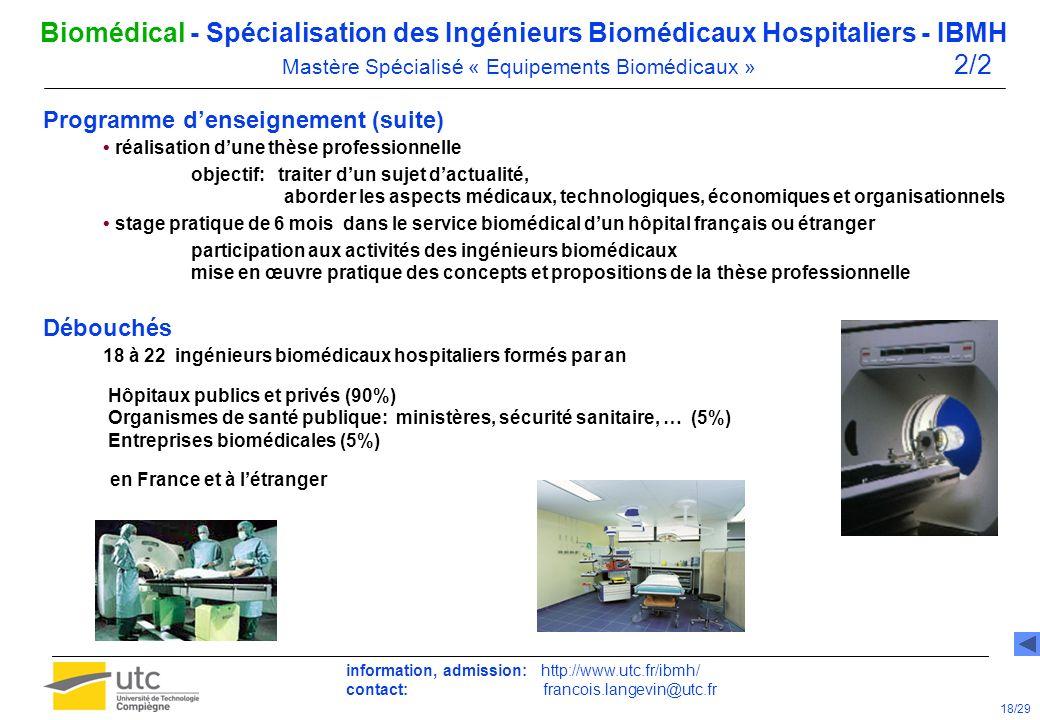Programme denseignement (suite) réalisation dune thèse professionnelle objectif: traiter dun sujet dactualité, aborder les aspects médicaux, technolog
