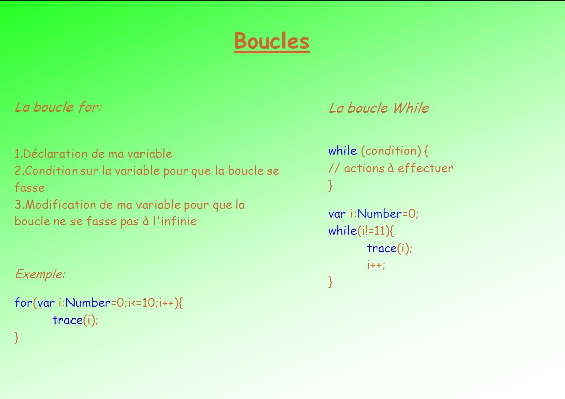 Boucles La boucle for: 1.Déclaration de ma variable 2.Condition sur la variable pour que la boucle se fasse 3.Modification de ma variable pour que la boucle ne se fasse pas à l infinie Exemple: for(var i:Number=0;i<=10;i++){ trace(i); } La boucle While while (condition) { // actions à effectuer } var i:Number=0; while(i!=11){ trace(i); i++; }