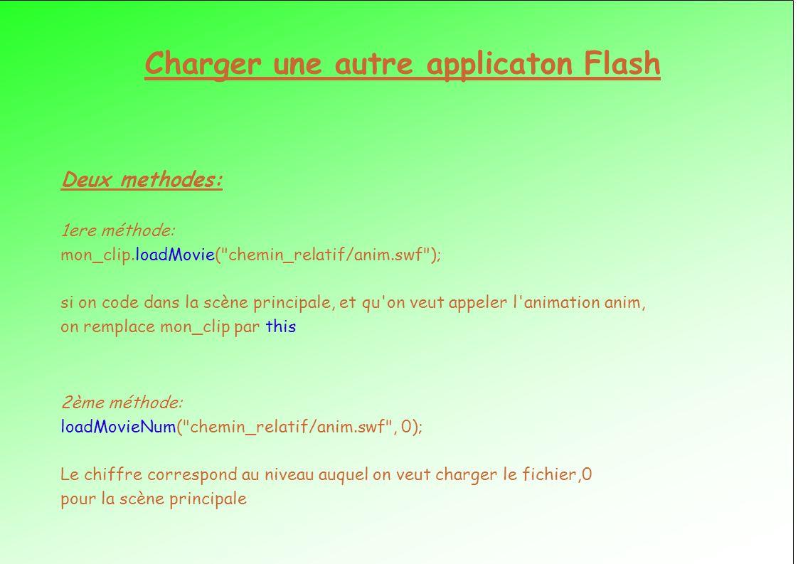 Charger une autre applicaton Flash Deux methodes: 1ere méthode: mon_clip.loadMovie( chemin_relatif/anim.swf ); si on code dans la scène principale, et qu on veut appeler l animation anim, on remplace mon_clip par this 2ème méthode: loadMovieNum( chemin_relatif/anim.swf , 0); Le chiffre correspond au niveau auquel on veut charger le fichier,0 pour la scène principale
