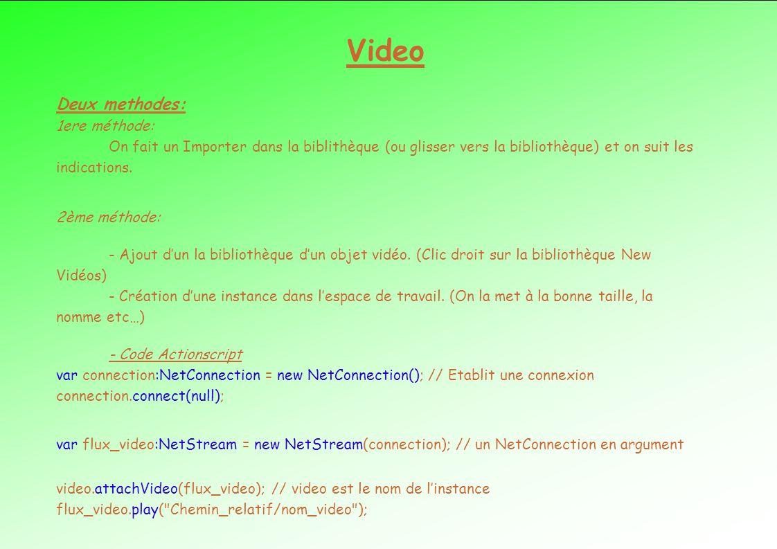 Video Deux methodes: 1ere méthode: On fait un Importer dans la biblithèque (ou glisser vers la bibliothèque) et on suit les indications.