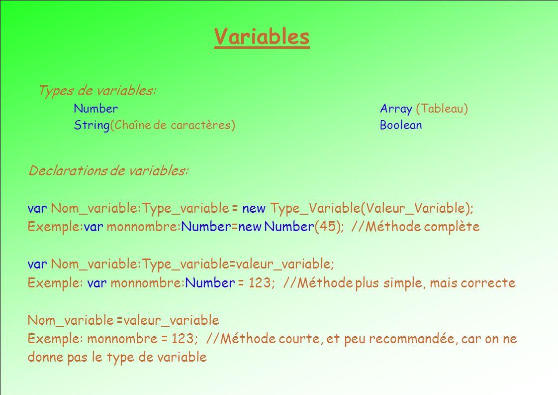 Variables Types de variables: Number Array (Tableau) String(Chaîne de caractères) Boolean Declarations de variables: var Nom_variable:Type_variable = new Type_Variable(Valeur_Variable); Exemple:var monnombre:Number=new Number(45); //Méthode complète var Nom_variable:Type_variable=valeur_variable; Exemple: var monnombre:Number = 123; //Méthode plus simple, mais correcte Nom_variable =valeur_variable Exemple: monnombre = 123; //Méthode courte, et peu recommandée, car on ne donne pas le type de variable
