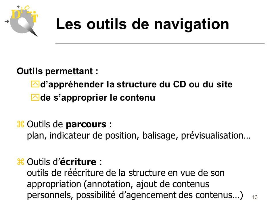 13 Les outils de navigation Outils permettant : ydappréhender la structure du CD ou du site yde sapproprier le contenu zOutils de parcours : plan, ind