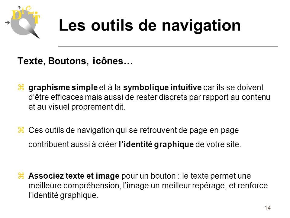 14 Texte, Boutons, icônes… zgraphisme simple et à la symbolique intuitive car ils se doivent dêtre efficaces mais aussi de rester discrets par rapport