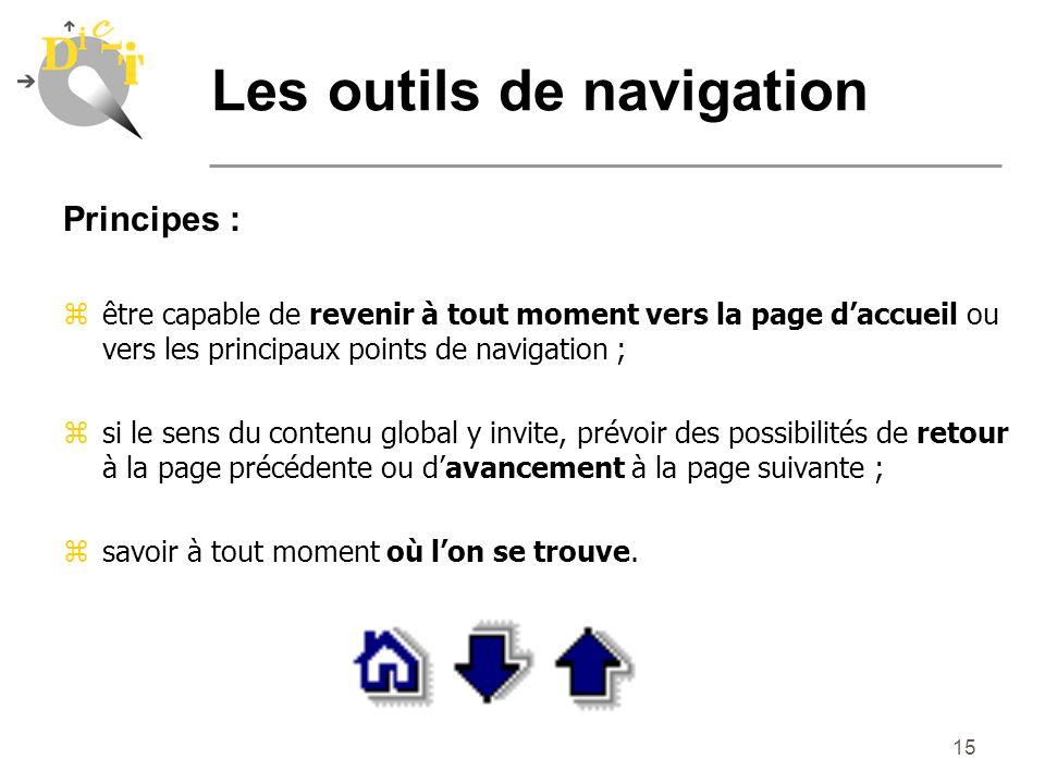 15 Principes : zêtre capable de revenir à tout moment vers la page daccueil ou vers les principaux points de navigation ; zsi le sens du contenu globa