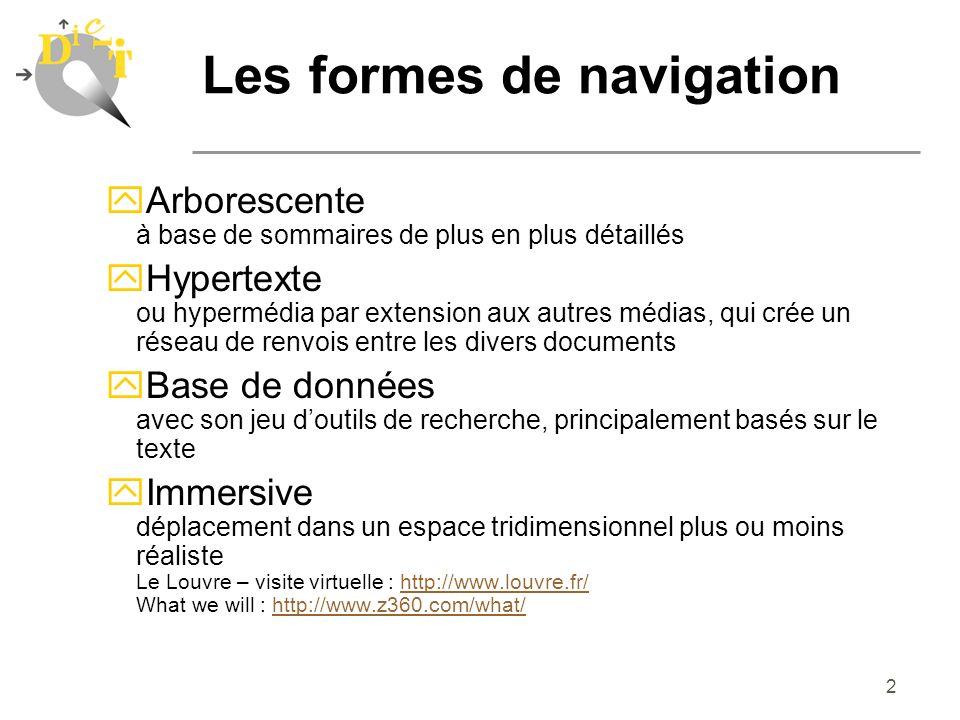 2 Les formes de navigation yArborescente à base de sommaires de plus en plus détaillés yHypertexte ou hypermédia par extension aux autres médias, qui
