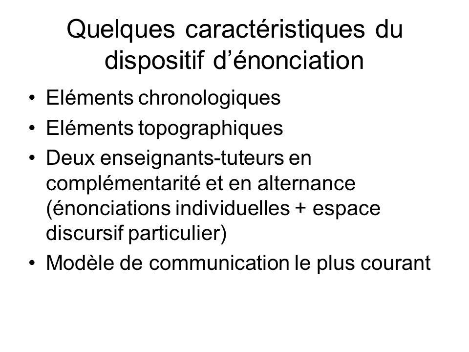 Quelques caractéristiques du dispositif dénonciation Eléments chronologiques Eléments topographiques Deux enseignants-tuteurs en complémentarité et en alternance (énonciations individuelles + espace discursif particulier) Modèle de communication le plus courant