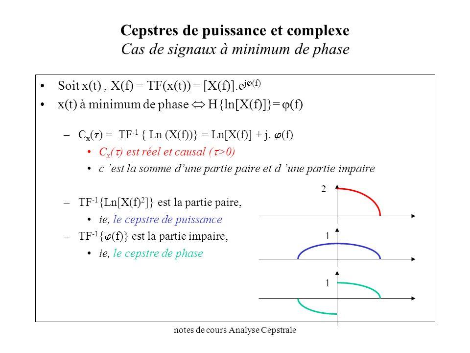notes de cours Analyse Cepstrale Cepstres de puissance et complexe Cas de signaux à minimum de phase Soit x(t), X(f) = TF(x(t)) = [X(f)].e j (f) x(t)