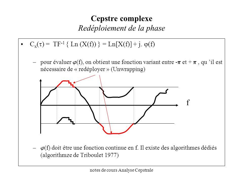 notes de cours Analyse Cepstrale Cepstre complexe Redéploiement de la phase C x ( ) = TF -1 { Ln (X(f)) } = Ln[X(f)] + j. (f) –pour évaluer (f), on ob