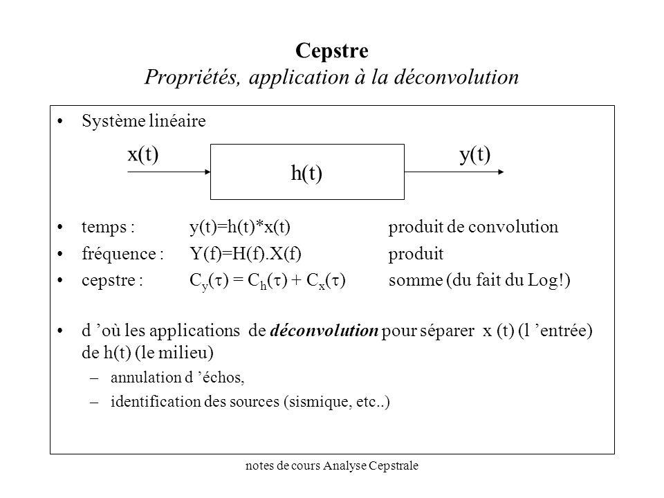 notes de cours Analyse Cepstrale Cepstre Propriétés, application à la déconvolution Système linéaire temps : y(t)=h(t)*x(t)produit de convolution fréq