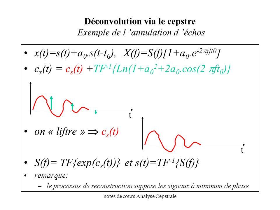 notes de cours Analyse Cepstrale Déconvolution via le cepstre Exemple de l annulation d échos x(t)=s(t)+a 0.s(t-t 0 ), X(f)=S(f)[1+a 0.e -2 jft0 ] c x