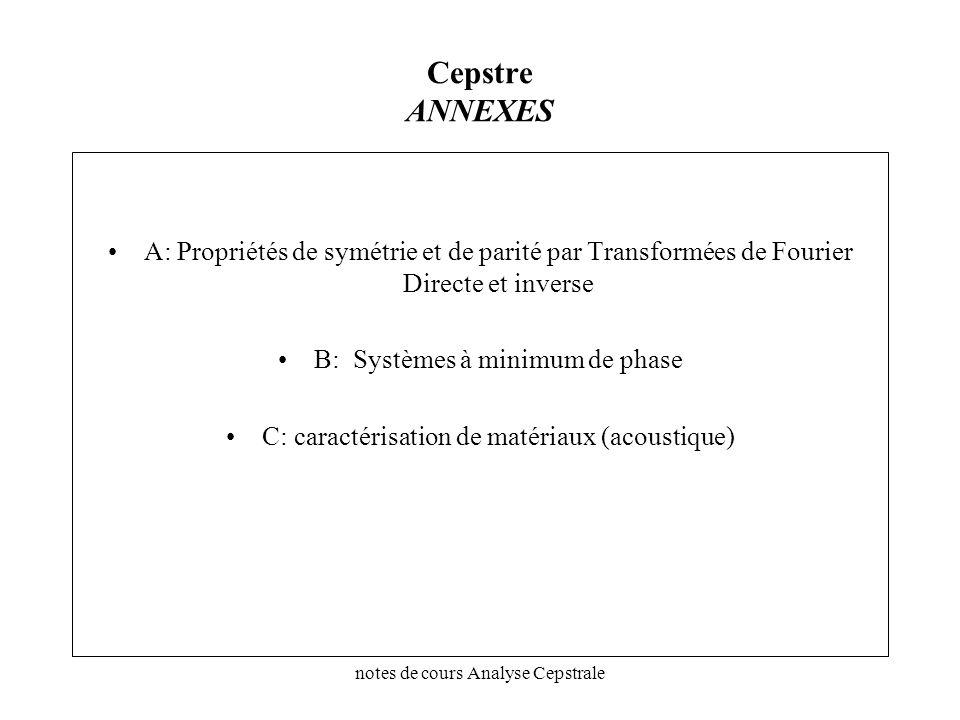 notes de cours Analyse Cepstrale Cepstre ANNEXES A: Propriétés de symétrie et de parité par Transformées de Fourier Directe et inverse B: Systèmes à m