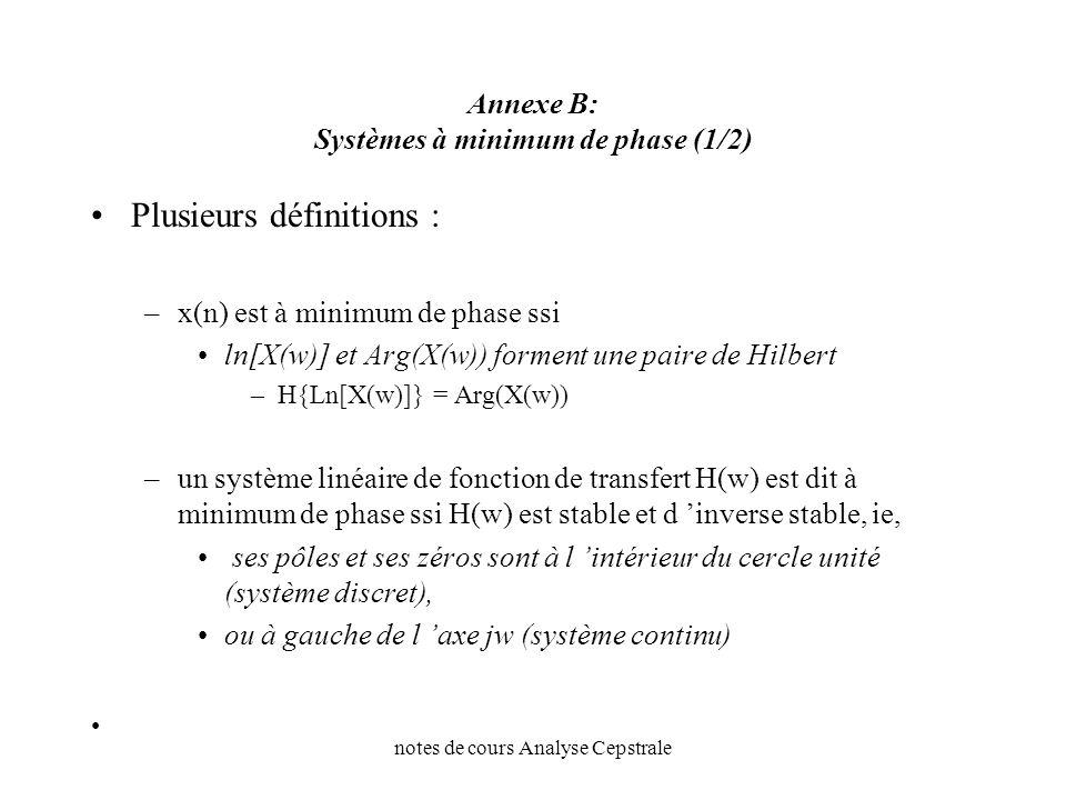 notes de cours Analyse Cepstrale Annexe B: Systèmes à minimum de phase (1/2) Plusieurs définitions : –x(n) est à minimum de phase ssi ln[X(w)] et Arg(