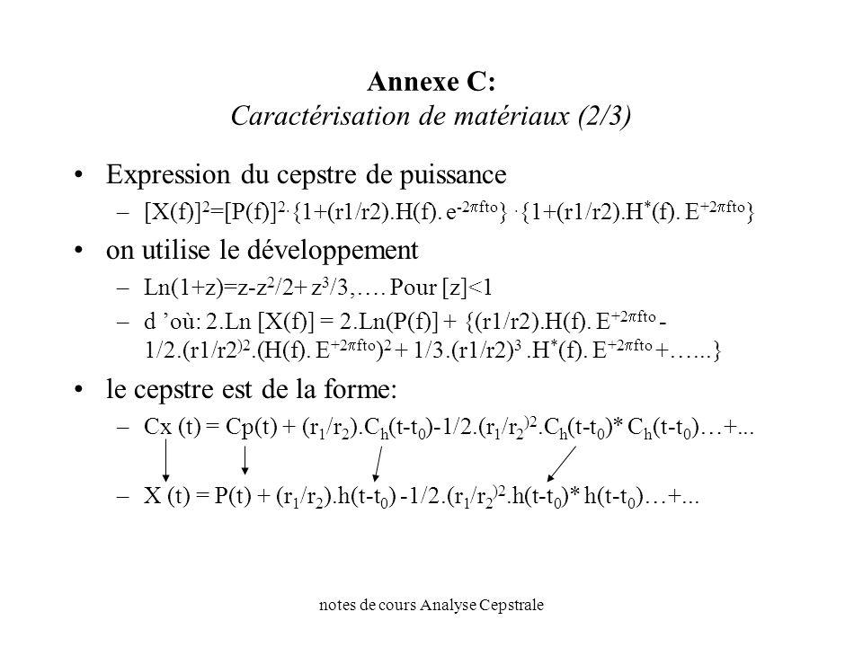notes de cours Analyse Cepstrale Annexe C: Caractérisation de matériaux (2/3) Expression du cepstre de puissance –[X(f)] 2 =[P(f)] 2. {1+(r1/r2).H(f).