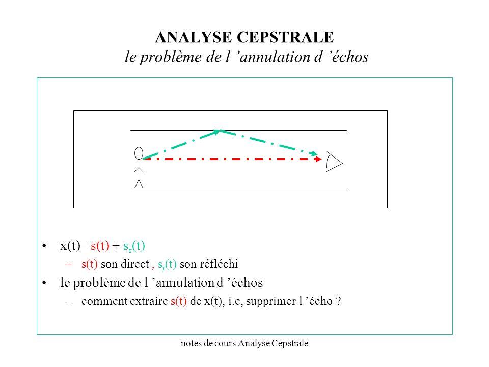 notes de cours Analyse Cepstrale ANALYSE CEPSTRALE le problème de l annulation d échos x(t)= s(t) + s r (t) –s(t) son direct, s r (t) son réfléchi le
