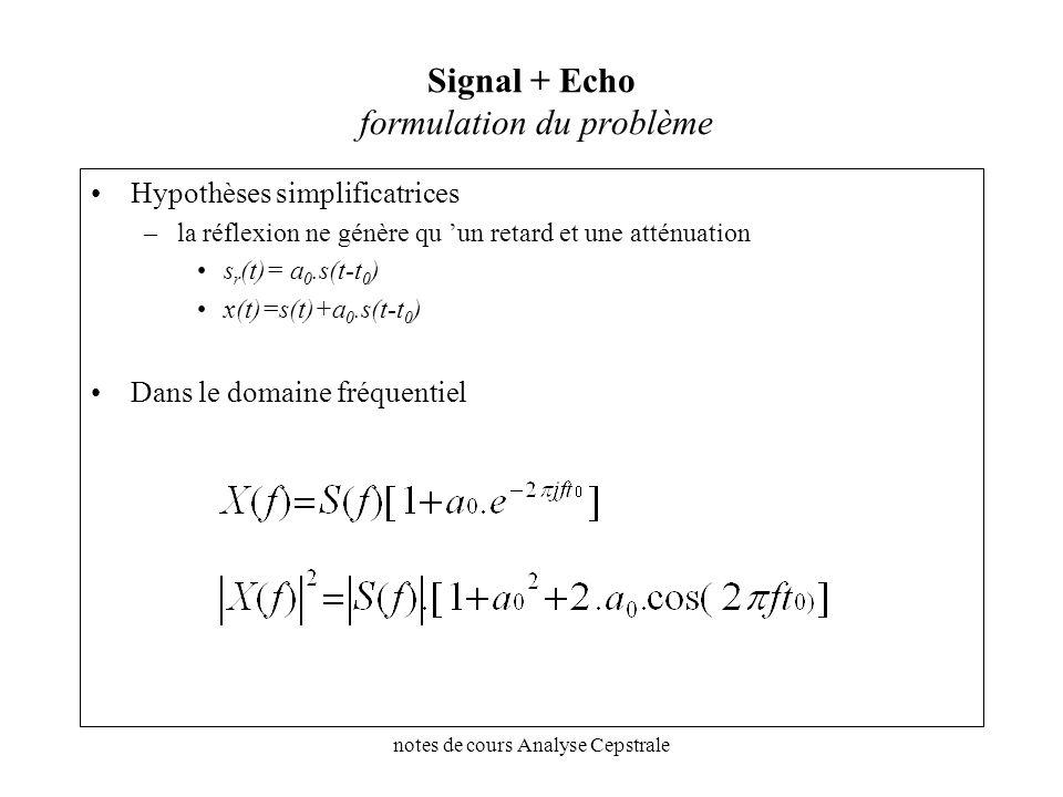 notes de cours Analyse Cepstrale Signal + Echo formulation du problème Hypothèses simplificatrices –la réflexion ne génère qu un retard et une atténua