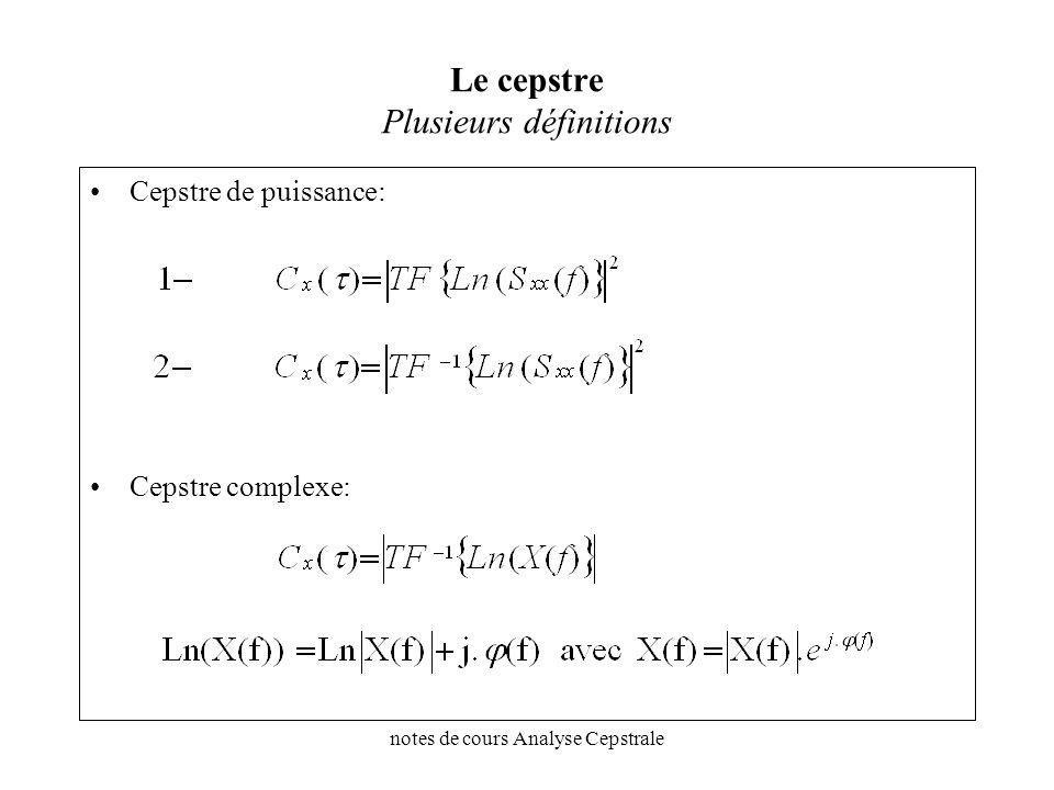 notes de cours Analyse Cepstrale Le cepstre Plusieurs définitions Cepstre de puissance: Cepstre complexe: