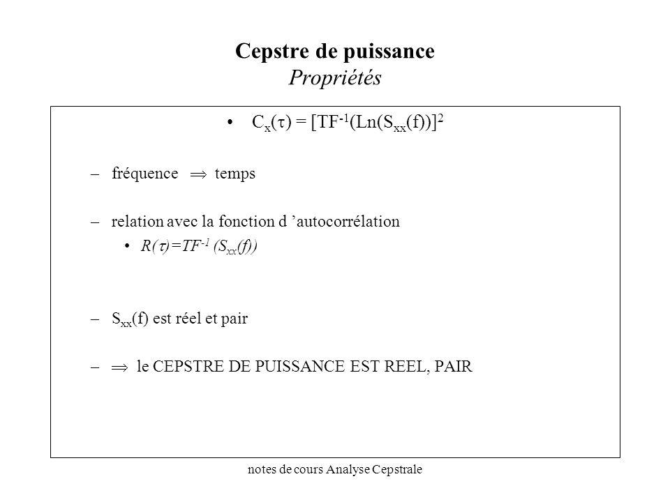 notes de cours Analyse Cepstrale Cepstre de puissance Propriétés C x ( ) = [TF -1 (Ln(S xx (f))] 2 –fréquence temps –relation avec la fonction d autoc