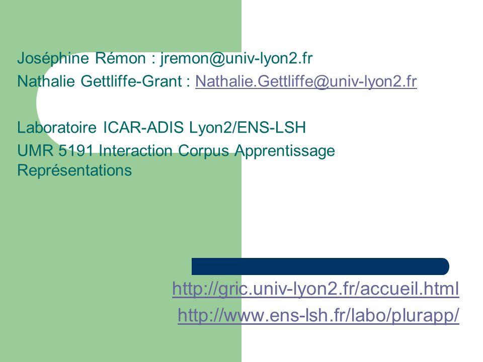 Joséphine Rémon : jremon@univ-lyon2.fr Nathalie Gettliffe-Grant : Nathalie.Gettliffe@univ-lyon2.frNathalie.Gettliffe@univ-lyon2.fr Laboratoire ICAR-ADIS Lyon2/ENS-LSH UMR 5191 Interaction Corpus Apprentissage Représentations http://gric.univ-lyon2.fr/accueil.html http://www.ens-lsh.fr/labo/plurapp/