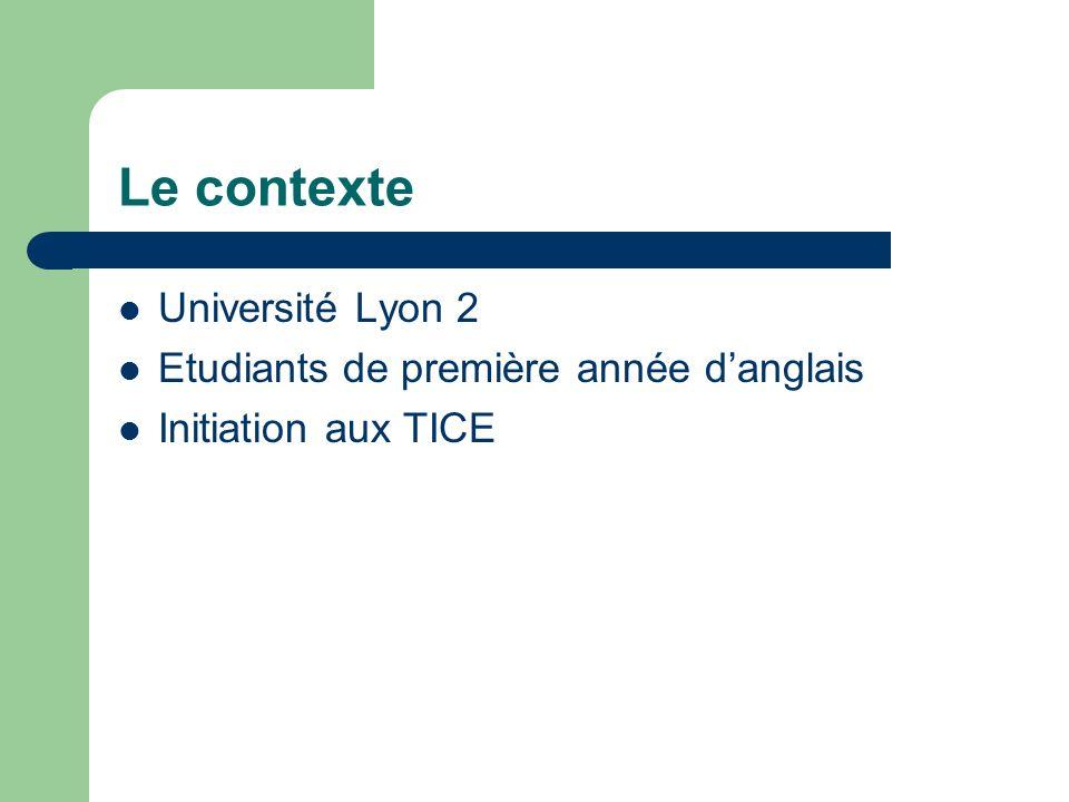 Le contexte Université Lyon 2 Etudiants de première année danglais Initiation aux TICE