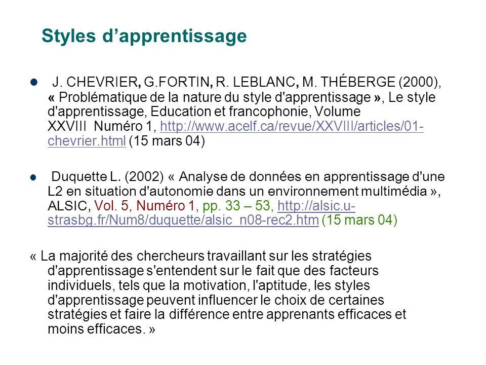 Styles dapprentissage J. CHEVRIER, G.FORTIN, R. LEBLANC, M.
