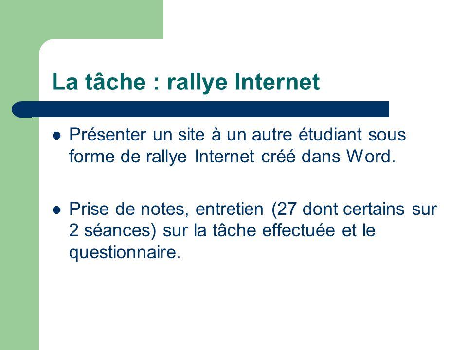 La tâche : rallye Internet Présenter un site à un autre étudiant sous forme de rallye Internet créé dans Word.