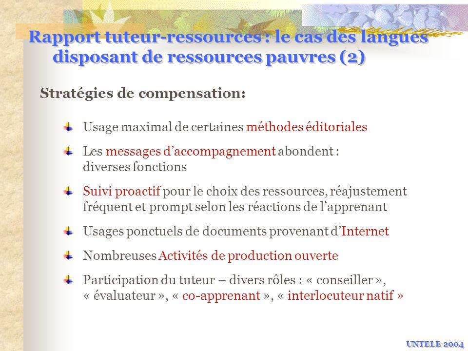 Rapport tuteur-ressources : le cas des langues disposant de ressources pauvres (2) Usage maximal de certaines méthodes éditoriales Les messages daccom