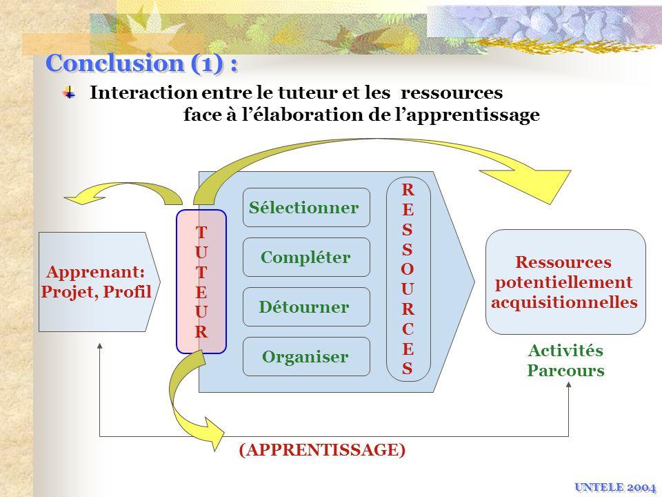 Conclusion (1) : UNTELE 2004 Apprenant: Projet, Profil Sélectionner Compléter Détourner Organiser TUTEURTUTEUR RESSOURCESRESSOURCES (APPRENTISSAGE) Re