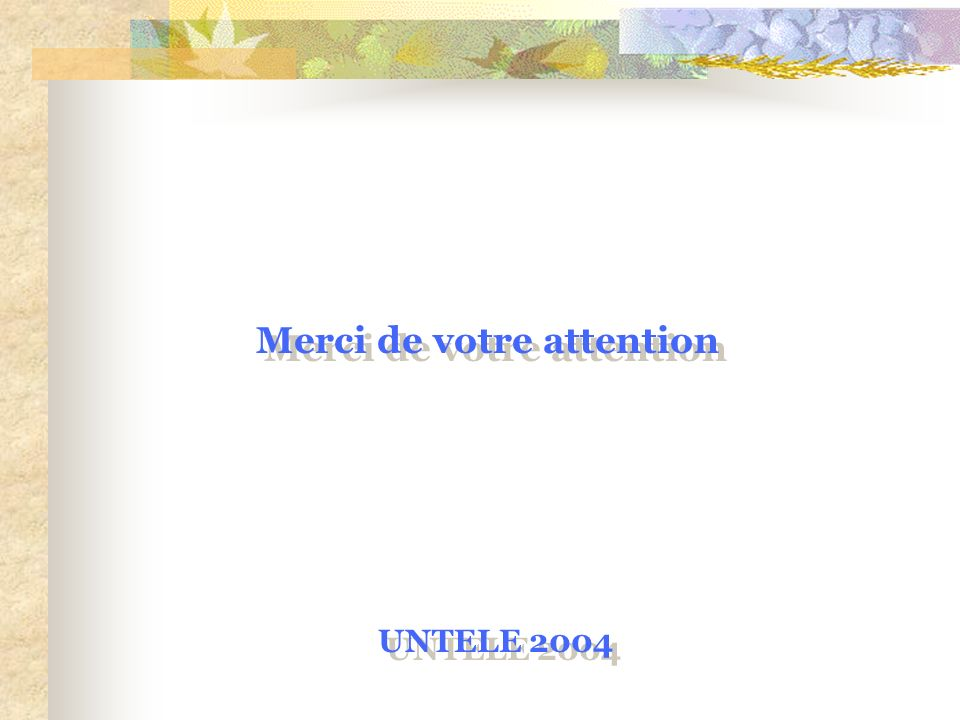 Merci de votre attention UNTELE 2004