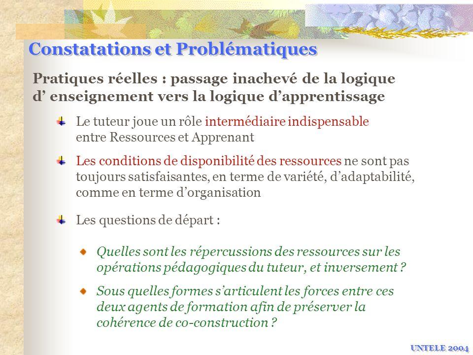 Constatations et Problématiques Pratiques réelles : passage inachevé de la logique d enseignement vers la logique dapprentissage Les conditions de dis
