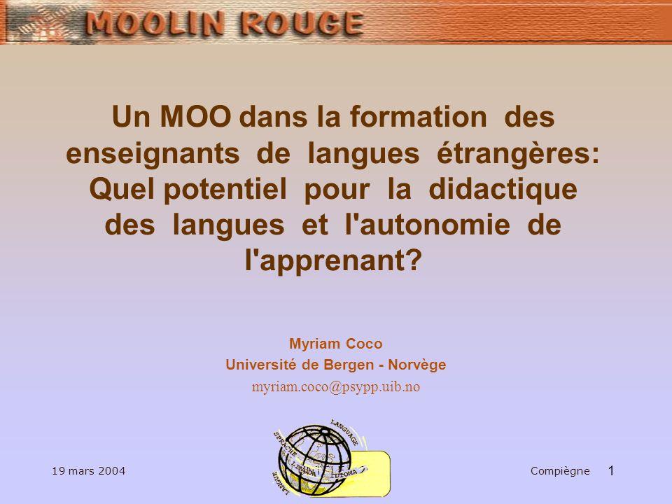 1 Un MOO dans la formation des enseignants de langues étrangères: Quel potentiel pour la didactique des langues et l autonomie de l apprenant.