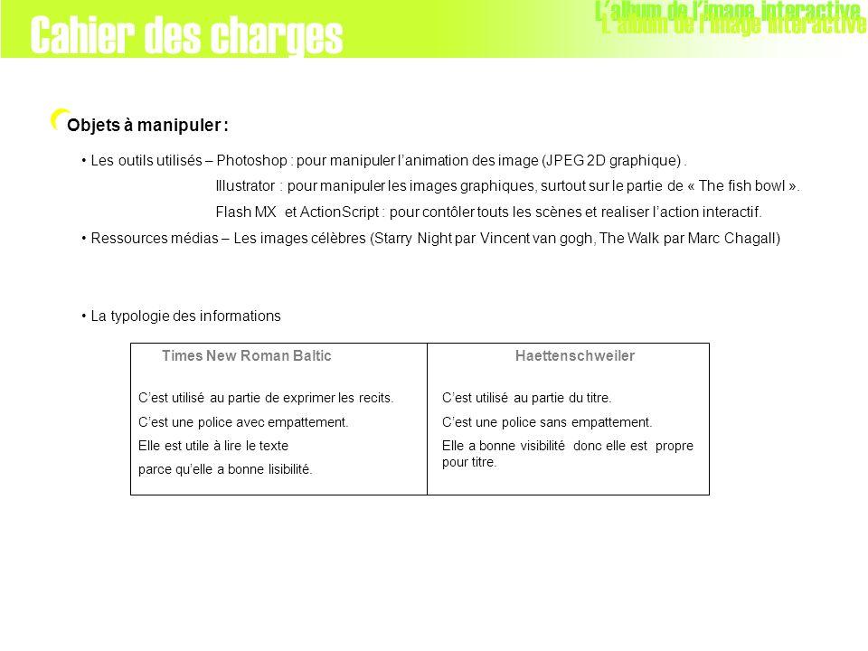 Objets à manipuler : Cahier des charges L'album de l'image interactive Les outils utilisés – Photoshop : pour manipuler lanimation des image (JPEG 2D