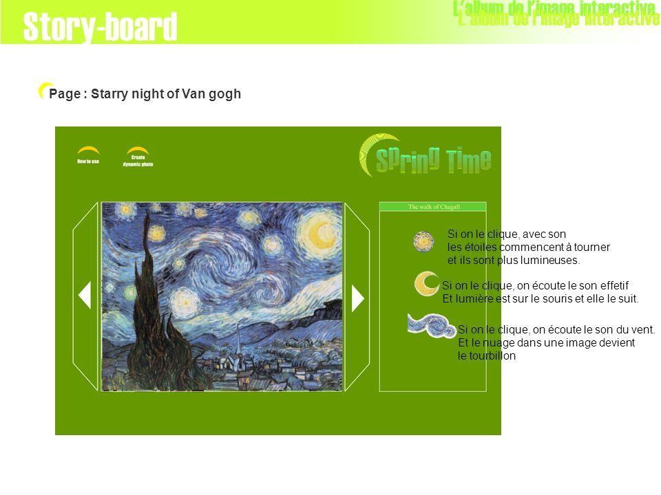 L'album de l'image interactive Page : Starry night of Van gogh Story-board Si on le clique, avec son les étoiles commencent à tourner et ils sont plus