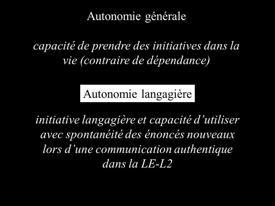Autonomie générale capacité de prendre des initiatives dans la vie (contraire de dépendance) initiative langagière et capacité dutiliser avec spontanéité des énoncés nouveaux lors dune communication authentique dans la LE-L2 Autonomie langagière