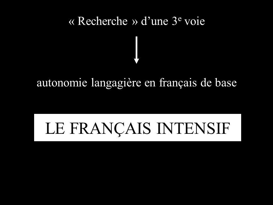 « Recherche » dune 3 e voie LE FRANÇAIS INTENSIF autonomie langagière en français de base