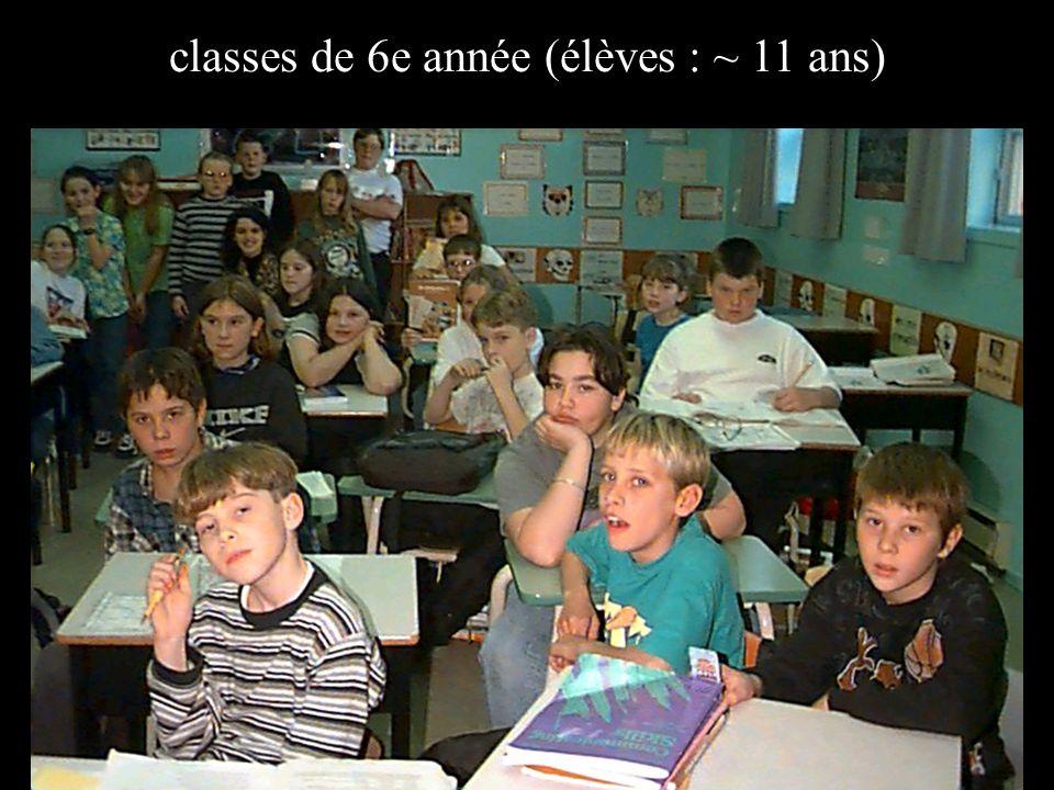classes de 6e année (élèves : ~ 11 ans)