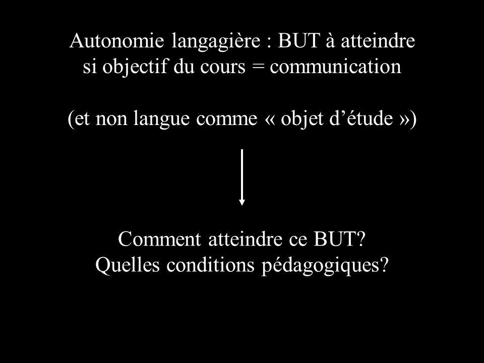 Autonomie langagière : BUT à atteindre si objectif du cours = communication (et non langue comme « objet détude ») Comment atteindre ce BUT.