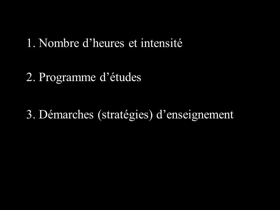 2. Programme détudes 1. Nombre dheures et intensité 3. Démarches (stratégies) denseignement