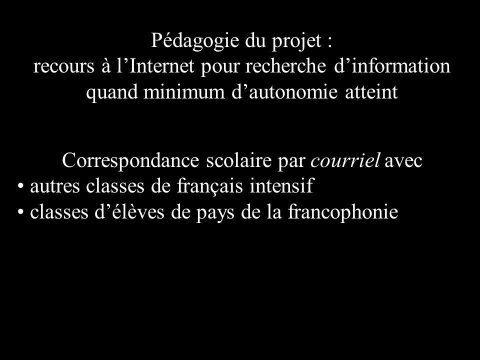Pédagogie du projet : recours à lInternet pour recherche dinformation quand minimum dautonomie atteint Correspondance scolaire par courriel avec autres classes de français intensif classes délèves de pays de la francophonie