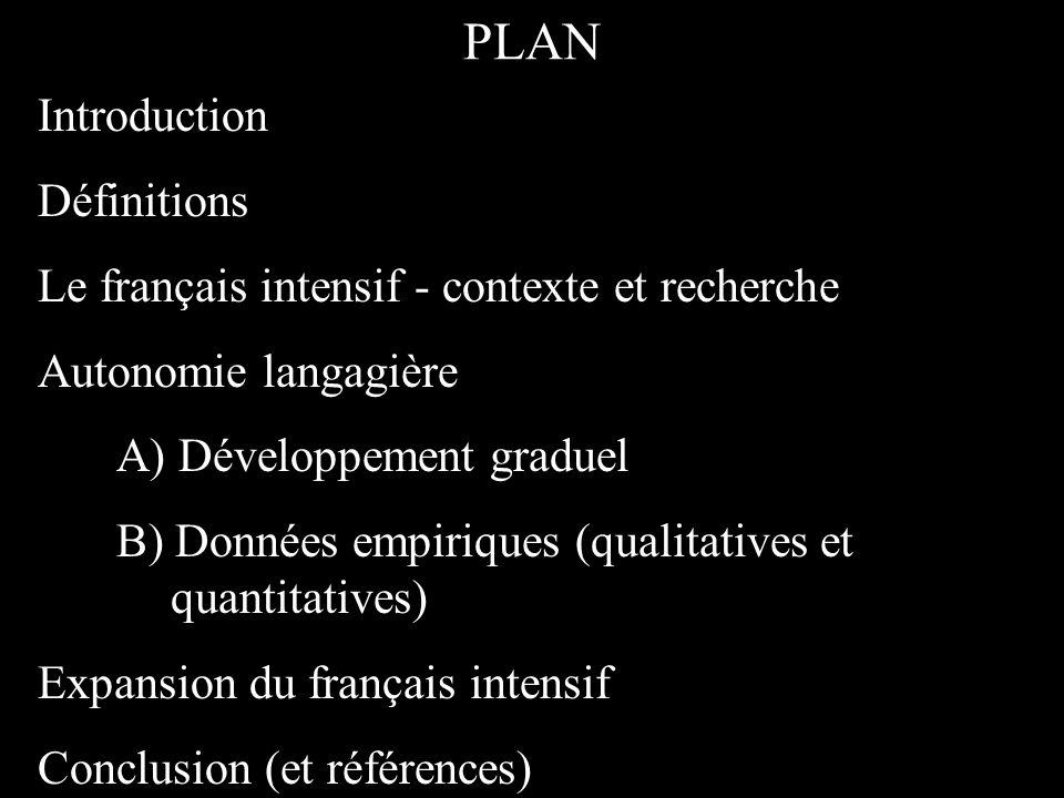 PLAN Introduction Définitions Le français intensif - contexte et recherche Autonomie langagière A) Développement graduel B) Données empiriques (qualitatives et quantitatives) Expansion du français intensif Conclusion (et références)