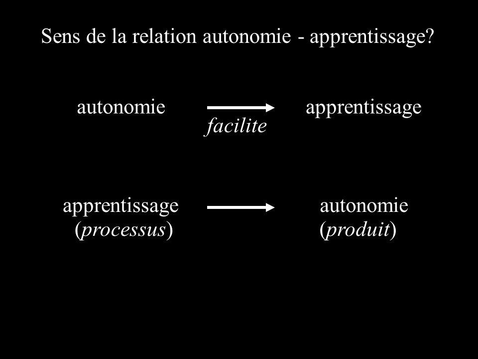 Sens de la relation autonomie - apprentissage? autonomieapprentissage autonomie facilite (processus)(produit)