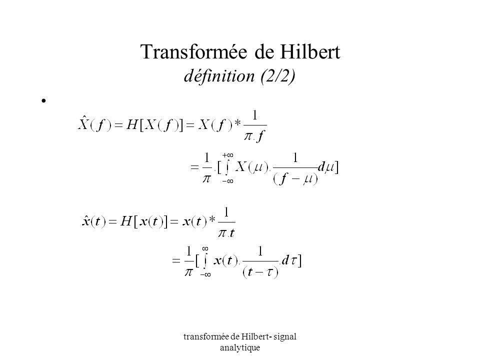 transformée de Hilbert- signal analytique Transformée de Hilbert définition (2/2)