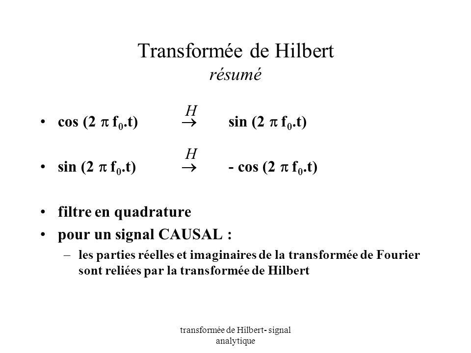 transformée de Hilbert- signal analytique Transformée de Hilbert résumé cos (2 f 0.t) sin (2 f 0.t) sin (2 f 0.t) - cos (2 f 0.t) filtre en quadrature