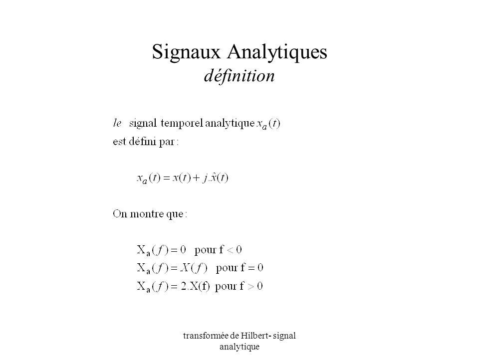 transformée de Hilbert- signal analytique Signaux Analytiques définition
