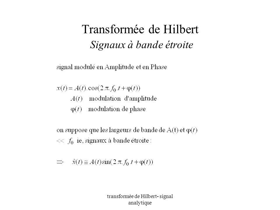 transformée de Hilbert- signal analytique Transformée de Hilbert Signaux à bande étroite