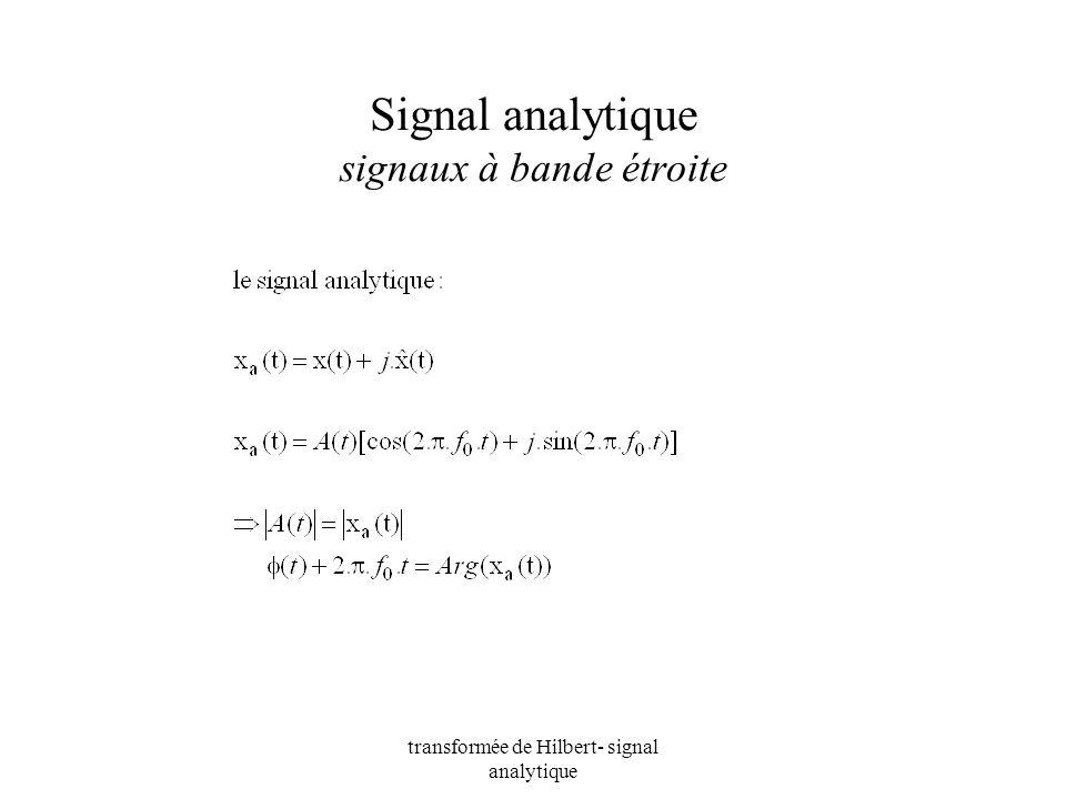 transformée de Hilbert- signal analytique Signal analytique signaux à bande étroite