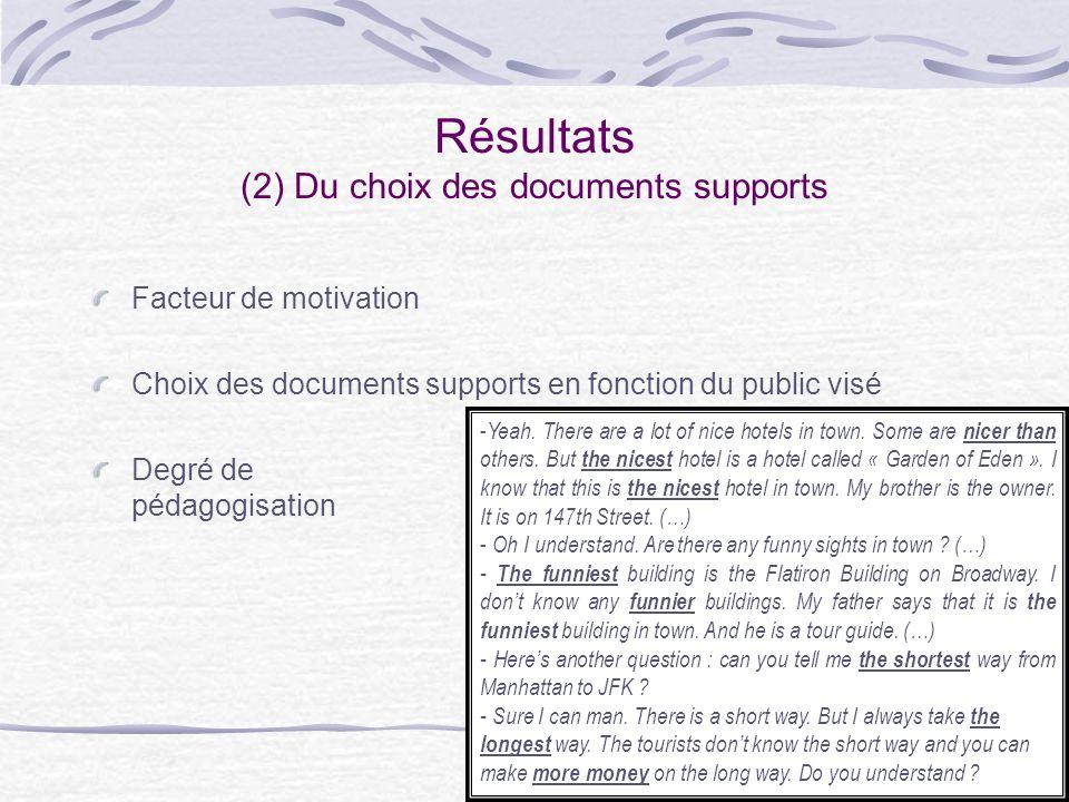 10 Résultats (2) Du choix des documents supports Facteur de motivation Choix des documents supports en fonction du public visé Degré de pédagogisation - Yeah.