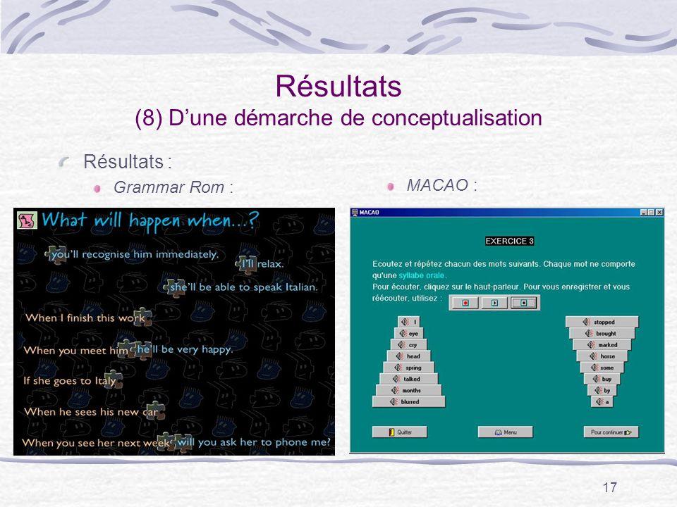 17 Résultats (8) Dune démarche de conceptualisation Résultats : Grammar Rom : MACAO :
